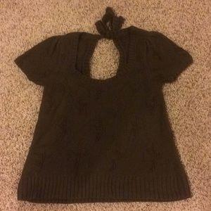 Anthropologie Moth Brown Leaf Sweater Top M
